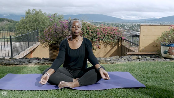 Elder Women Outdorr Meditation
